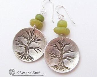 Sterling Silver Tree Earrings, Green Jade Earrings, Handmade Silver Nature Jewelry, Naturalists Jewelry, Nature Gift, Tree Of Life Jewelry