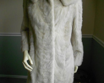 Cream  and Gray Mink Fur Jacket  /  Mink Short Coat / 1950s