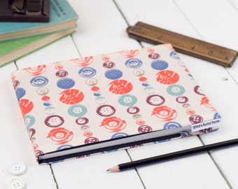 A5 Fabric Sketchbook,  fun Buttons pattern design, suitable for watercolours and sketching