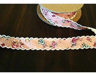 Rose Cotton Ribbon with Crochet Scalloped Edges/Pink/Assorted Yardage*/ Craft Supplies*