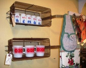 Vintage Rusty Fryer Basket as Kitchen Shelf Towel Rod