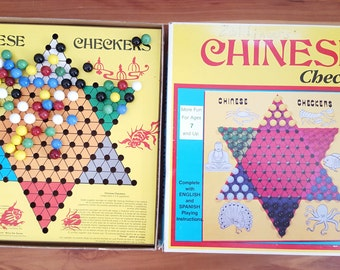 Chinese Checkers Vintage Game With 60 Marbles, Board Game, Vintage Marbles, Star