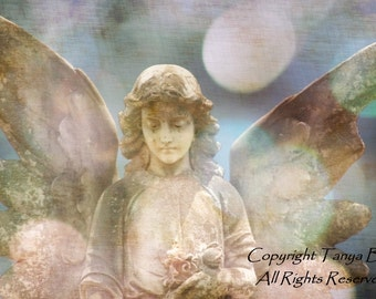 Guardian, Angel, Statue, Cemetery, Graveyard, Catholic, Layered, Gothic, Victorian, Shabby Chic, Nursery, Guardian Angel, Surreal, 8 x 12