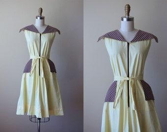 1940s Dress - Vintage 40s Dress - Pale Yellow Chocolate Brown Polka Dots Cotton Swing House Dress M - Banana Split Dress