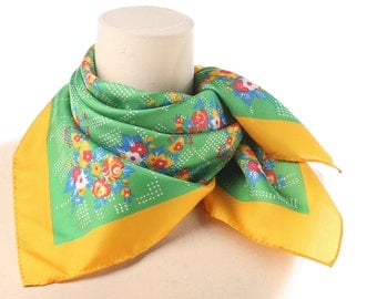 Flowers Printed Scarf 70s Green RURAL Liberty Print Neck Scarf Floral Bouquet Yellow  Woman Vintage Neck Shawl Square Womens Gift Retro Gift
