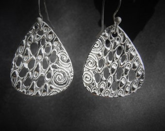Fine Silver Abstract Earrings - Reduced Price