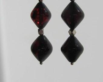 Cherry Amber Bicone Earrings
