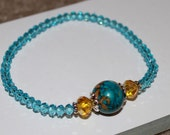 Aquamarine Stretch Bracelet-Gemstone Focal-Mosaic Turquoise-Blue and Gold-Light Topaz and Blue-6.5-7 Inch Wrist-March Birthday-Gift-For Her