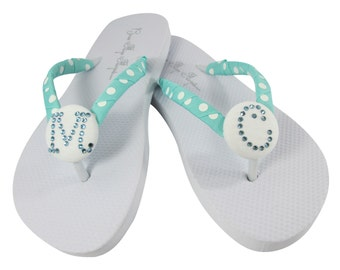 Bridesmaid Flip Flops with personalized rhinestone initial-aquamarine polka white-choose any color & size