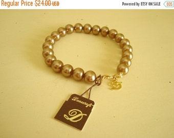 "Glass pearl bracelet, Danecraft vintage glass pearls, 7"" copper brown Danecraft Fuji Sea Pearl, bridesmaid gift, mid-century fashion jewelry"