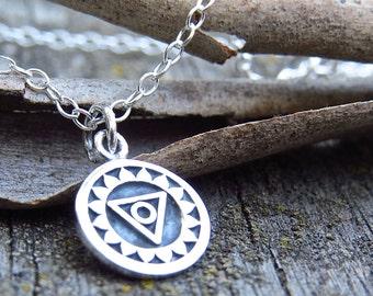 Throat Chakra Necklace, Minimalist Necklace, Yoga Necklace, 5th Chakra Jewelry, Layering Necklace, Double Sided Throat Chakra Charm Necklace