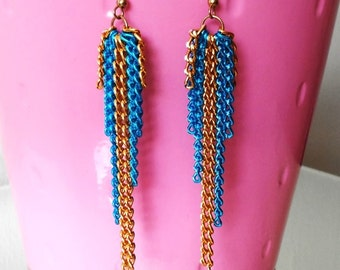 Long Gold & Blue Chain Earrings