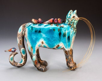 TWEEZLE & TWEETS - Turquoise Ceramic Raku Cat Sculpture