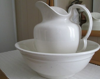White Ironstone Pitcher Bowl Set  England English Water Pitcher Country Cottage Farmhouse Rustic Farm House Shabby Chic