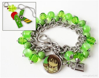 Gintama Katsura Charm Bracelet and Necklace Jewelry Set, Stainless Steel, Green Jewelry, Anime Jewelry, OOAK