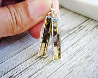 Multi Color Earrings, Color Block Earrings, Long Dangle Earrings, Minimalist Silver Earrings, Eco Friendly Earrings