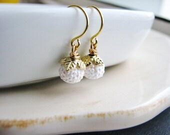 Delicate White Bead Earrings, Simple Bridal Earrings, Wedding Jewelry, Gold and White Drop Earrings, Minimalist Earrings