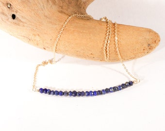 Gemstone Bar Necklace in Lapis and Gold is Graphic, Modern, Delicate