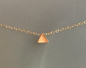 Shiny triangle gold Necklace, charm, layering necklace, choker, gold filled, simple, gift for her, classic, modern
