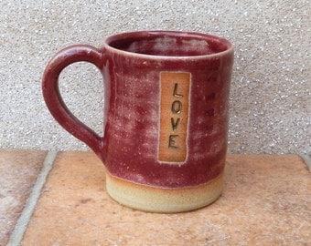 Coffee mug tea cup hand thrown stoneware pottery ceramic love