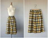 Vintage 1940s Skirt | 40s Skirt | Plaid Skirt | Vintage Wool Midi Skirt | 50s Skirt | 1950s Skirt
