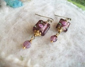 Dainty Lamp Work Bead Earrings, Purple Glass with Tiny Lavender Dangle