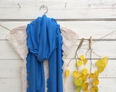 Caribbean Blue Scarf, Extra Long Scarf, Jersey Scarf,Blue Scarf, Fall Scarf, Winter Scarf, Women Scarves, Gift Idea for Her