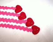 Crochet bookmark with red heart for book lovers 11 inch long Valentine's Day