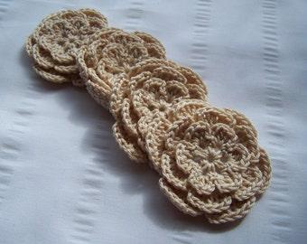Crocheted flowers motif 3 inch applique oatmeal set of 4
