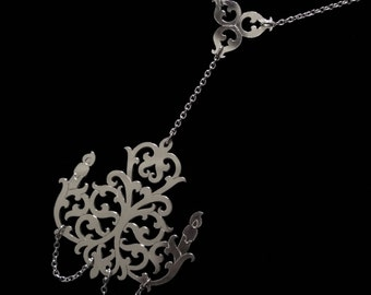 Sterling Silver Antique Style Chandelier Necklace with Chain - Small Candelabra - ARISTOCRATS BALL