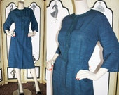 1950's Nelly Don Blue Long Sleeve Dress with Soutache' Detail. Large to XL.