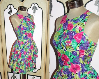 Vintage 80's/90's Two Tiered Floral Sundress with Smocked Back. Small to Medium.
