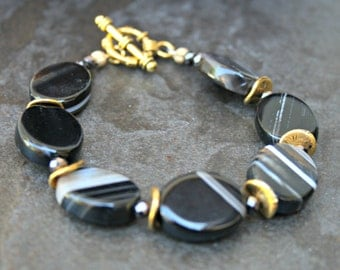 Black Agate stone bracelet, brown and black swirl, elegant black bead, gold finding, agate jewelry, large stone bracelet, unique stone