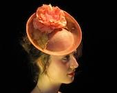 Flamingo,Peach Fascinator,Flamingo Hat, Lady's Hat, English Style Hat, English Style Fascinator, Custom Hat, Custom Fascinator