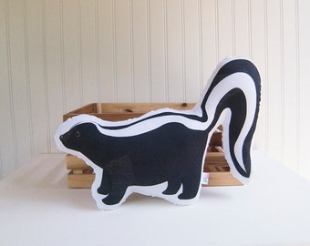 Skunk Pillow Plush Soft Toy Woodland Nursery Decor Ready to Ship