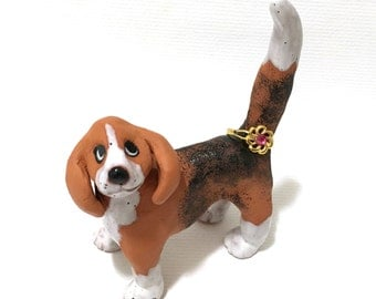 Dog Ring Holder, Hand-Built Beagle Sculpture, Ceramic Beagle Art