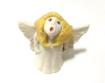 Angel Figurine, Hand-Built Angel Sculpture, Singing Angel, Guardian Angel, Angel Art