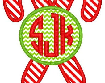 Candy Canes Monogram Machine Embroidery Applique