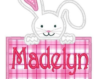 Easter Bunny Box Machine Embroidery Applique Design