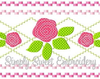 Rose Bud Faux Smocking Machine Embroidery Design