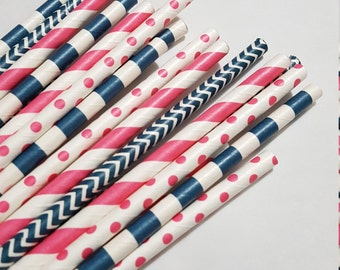 Navy and Bright Pink Mixed Patterns/Colors - Party Paper Drinking Straws Weddings/Showers/Parties/Events -Cakepop sticks - 2 Dozen Straw set