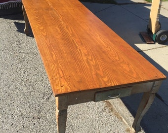 Antique Original 1800's Work Farm 9' Table 37w9'L31h24h Two Long Drawers Provenance Shipping is Not free