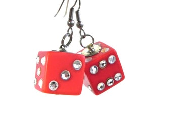 Vintage Bakelite style Red Dice Rockabilly Earrings with Crystals