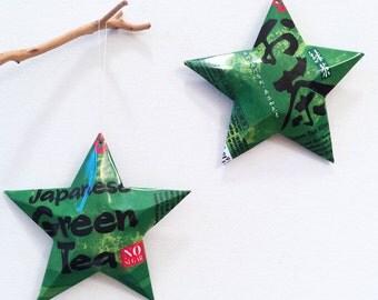 Pokka Japanese Green Tea Ginseng Stars Ornaments Soda Can Upcycled
