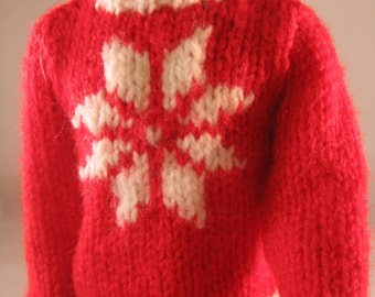 "Hand Knit Doll Clothes Red Snowflake Sweater fits 12"" fashion doll such as Ken"