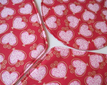 Wedge Red Valentine Placemats Reversible Valentines Wedge Placemats Valentines Pink Wedge Placemats Red Heart Placemats for a round table