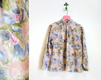 Vintage 1990s Petite Impressions Floral Polyester High Necked Blouse Size 10