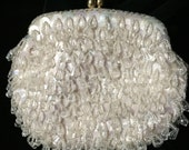 Vintage Beaded and Sequined Evening Bag with Stitched Elephant Label