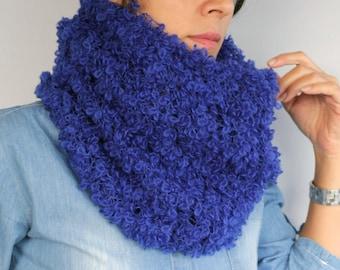 Hand Knit Unisex Circle Cowl, Infinity Scarf Angora Mohair Winter NeckWarmer Cobalt Sapphire Blue