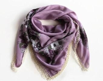 Lilac Summer Scarf, Boho Turban Bandana, Soft Cheesecloth Printed Floral Scarf, Bohemian Authentic Scarf, Tatting Lace Trim,  OOAK